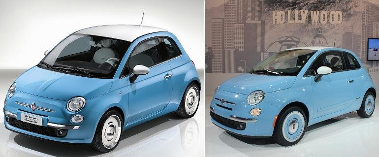 Fiat500 de 2015 e de 2013 exterior